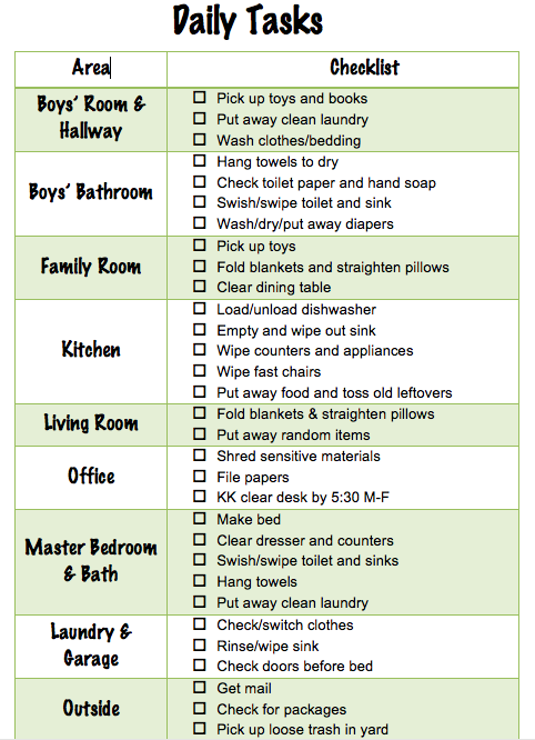 daily household chores list