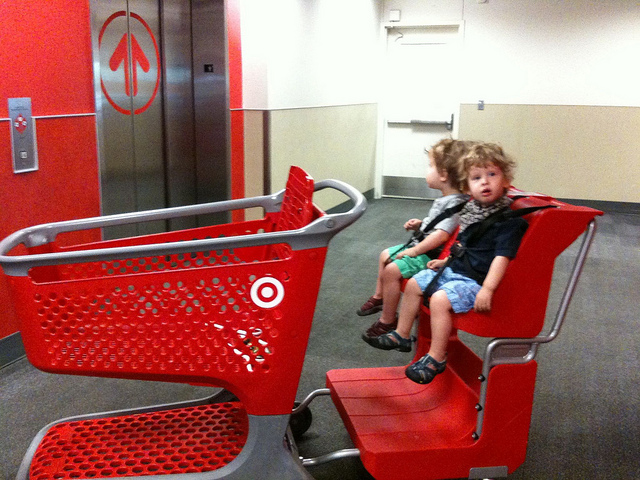 These are not my kids. I wish mine were still small enough to strap into the cart. I wonder if shrink rays will be on Cartwheel next week... Photo credit: Surlygirl via CC.